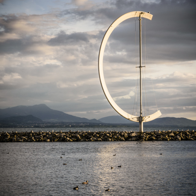 """Eole wind vane sculpture in Ouchy, Lausanne"" stock image"