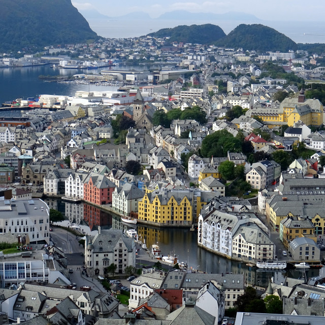 """Alesund Norway from Fjellstua viewpoint"" stock image"
