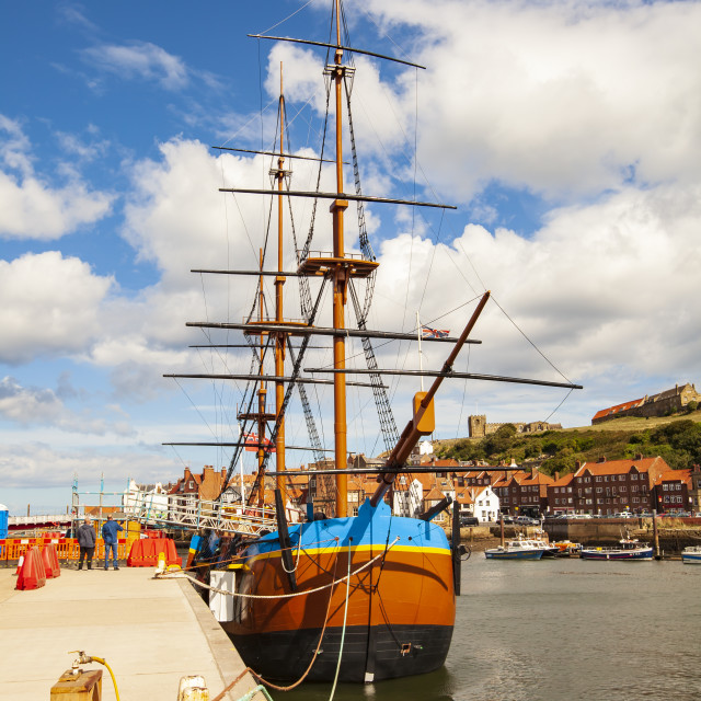 """""""Endeavour ship at Whitby"""" stock image"""