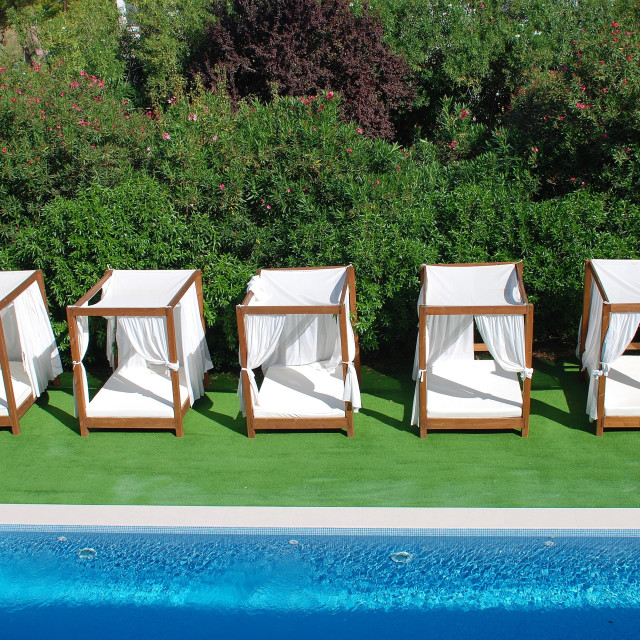 """Sunbeds and pool, Majorca"" stock image"
