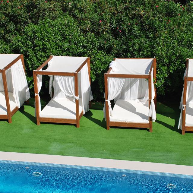 """Pool and sunbeds, Majorca"" stock image"