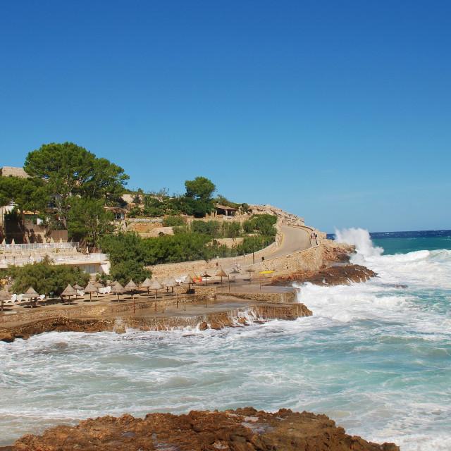 """Stormy seas at Cala San Vicente, Majorca"" stock image"