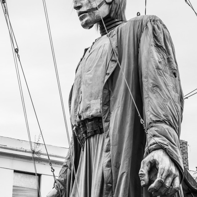 """Giant man standing tall above the streets of Liverpool"" stock image"