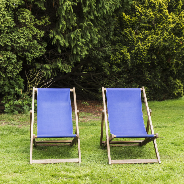 """""""Two deck chairs"""" stock image"""