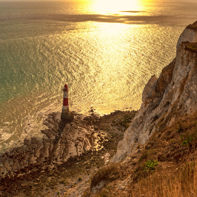 """Beachy Head Lighthouse in the Autumn Sun 1"" stock image"