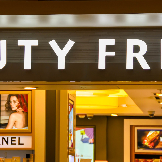 """""""Sign inside an airport terminal building for duty free"""" stock image"""