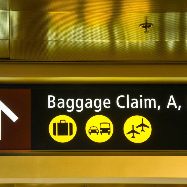 """""""Illuminated sign at an airport for baggage reclaim"""" stock image"""