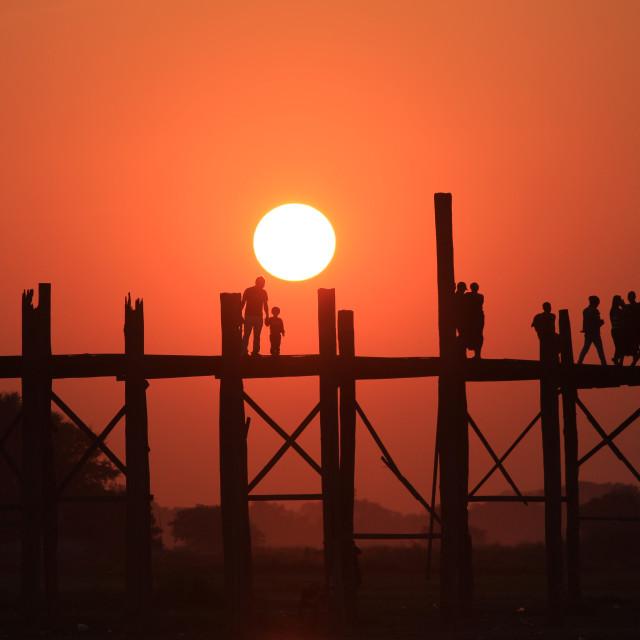 """Sunset at Ubien Bridge"" stock image"