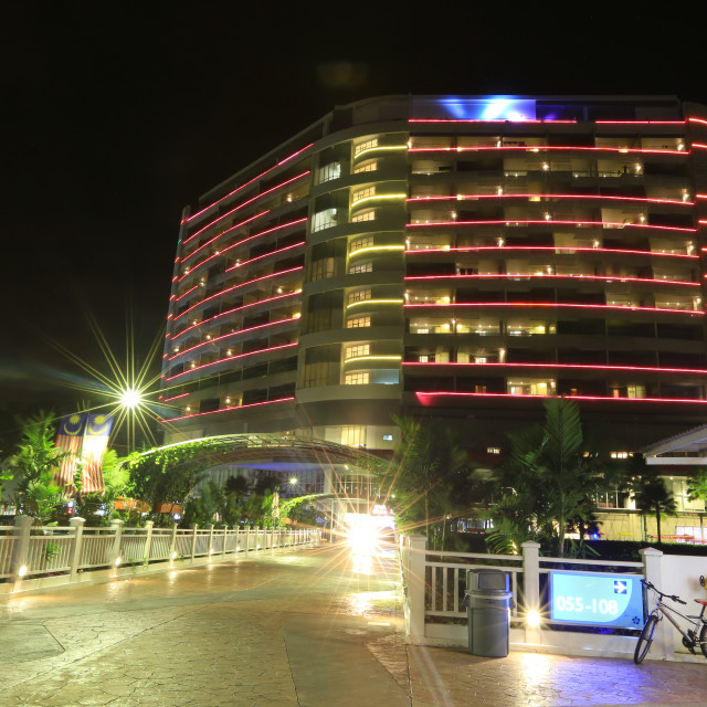 """noght shot of the Tower Block at The Lexis Hibiscus Port Dickson"" stock image"