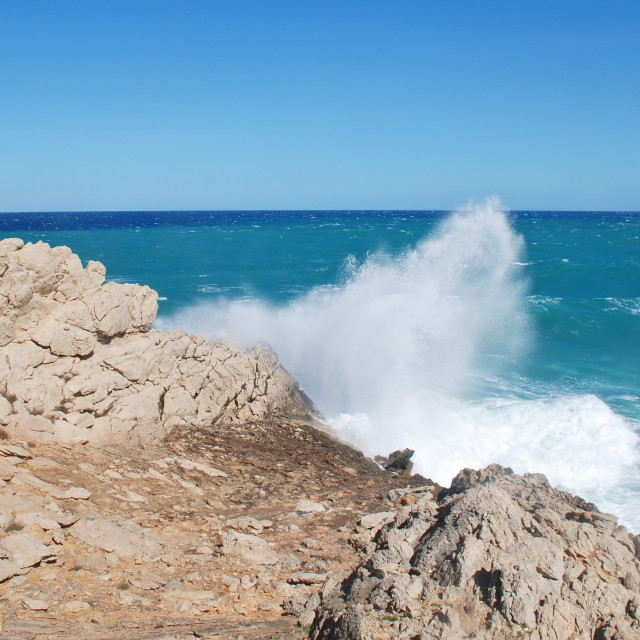 """Stormy seas at Cala San Vicente"" stock image"