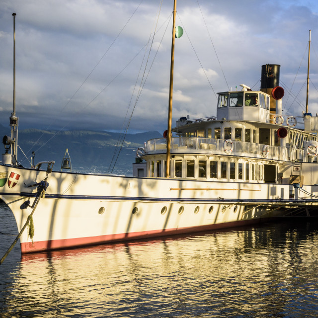 """Paddle steamer docked at Ouchy, Lausanne"" stock image"