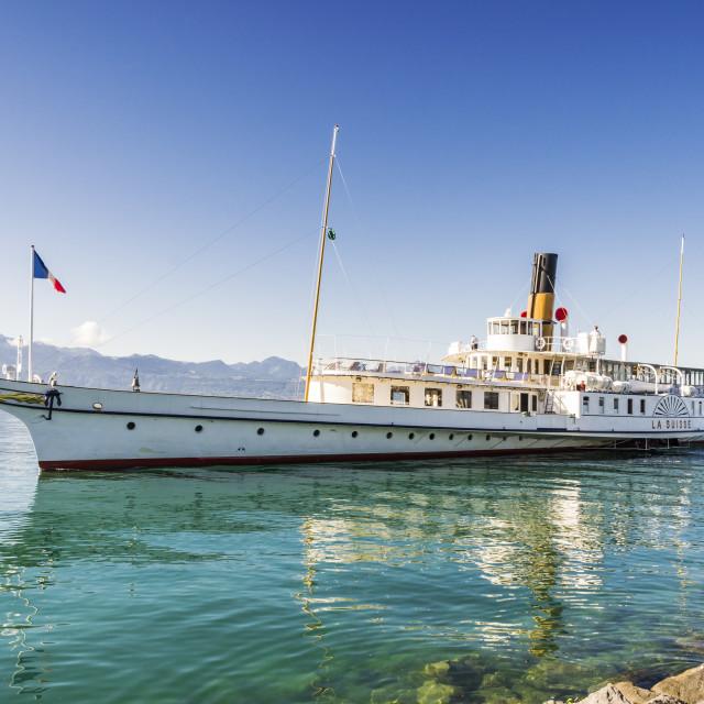 """Belle Epoque paddle steamer La Suisse on Lake Geneva"" stock image"