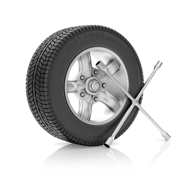 """""""Car wheel with tyre wrench, illustration"""" stock image"""