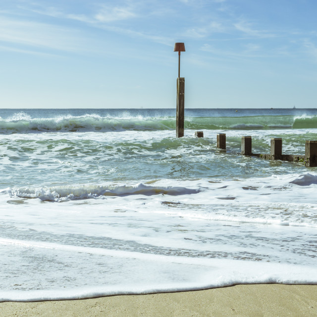 """""""Seascape on a sunny October day at Boscombe in Dorset"""" stock image"""