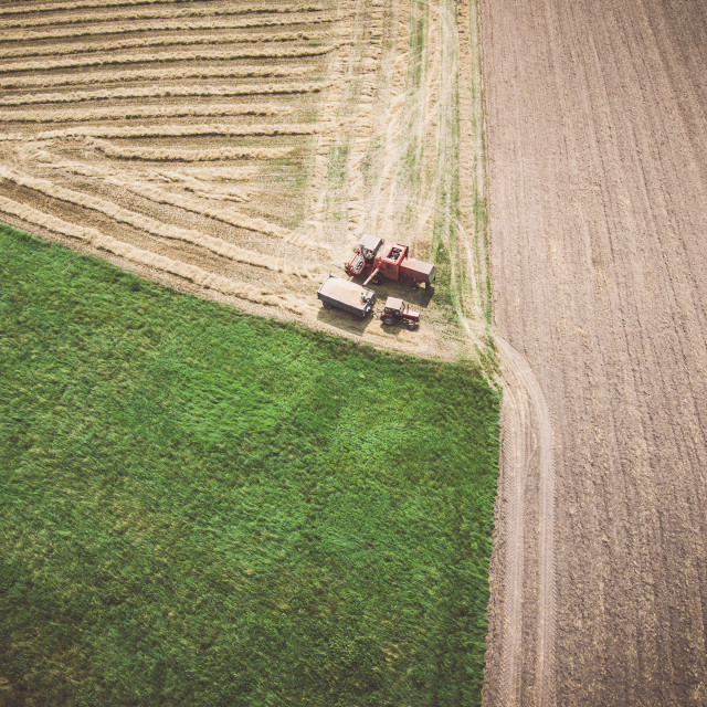 """""""Aerial view of combine-harvester and tractor working in the field"""" stock image"""