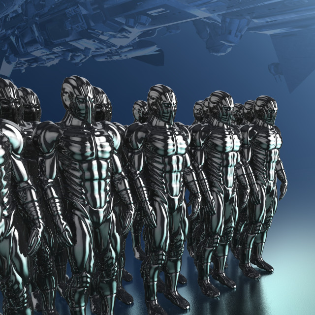 """""""Cyborgs standing in a row, illustration"""" stock image"""