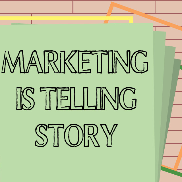 """""""Handwriting text writing Marketing Is Telling Story. Concept meaning Breathe..."""" stock image"""