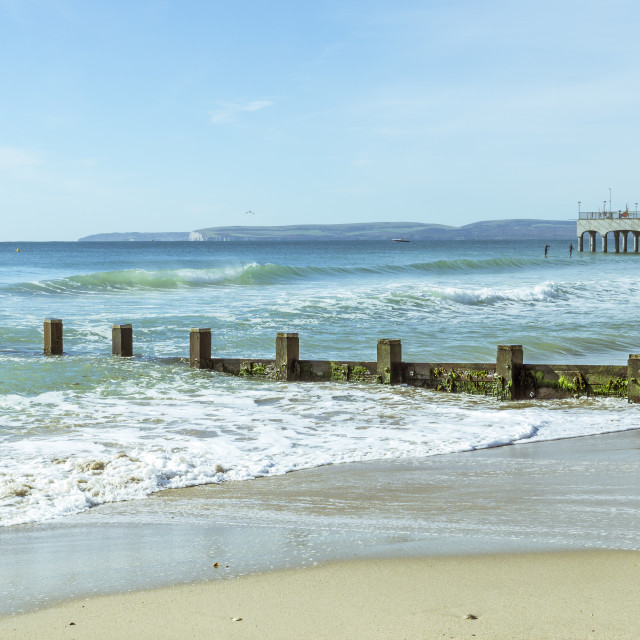 """""""A seafront view at Boscombe in Dorset"""" stock image"""