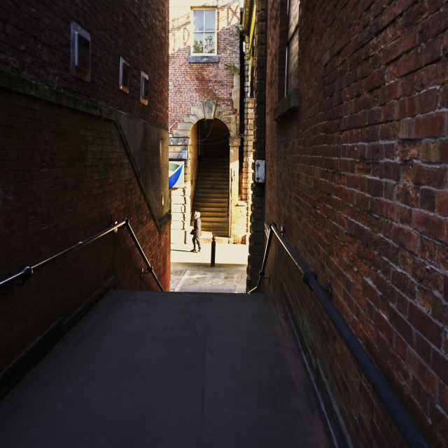 """""""Narrow staircase alley on the streets of Stockport"""" stock image"""