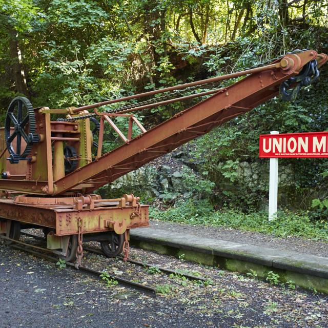 """Narrow guage railway crane"" stock image"