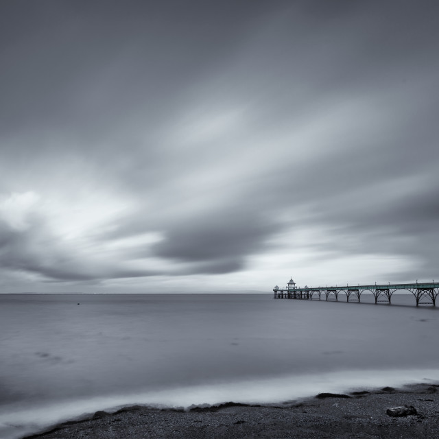 """Clevedon pier in monochrome"" stock image"