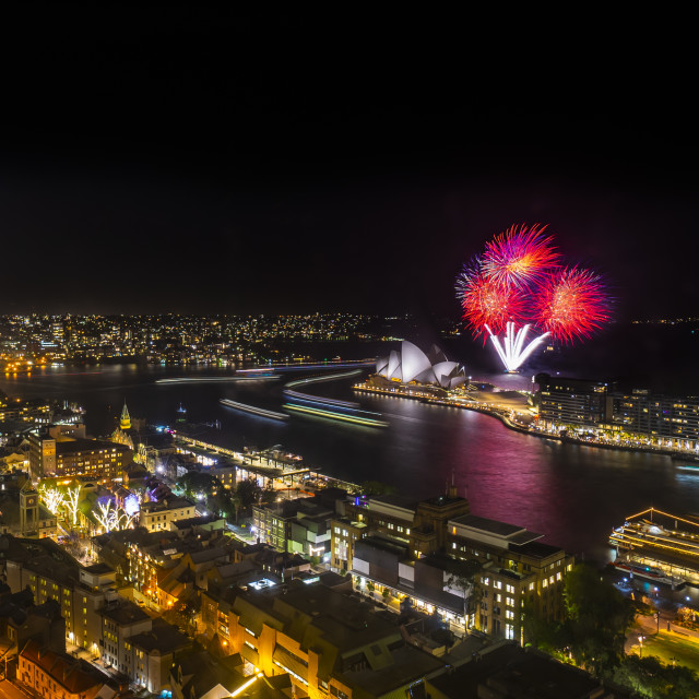"""Sydney city skyline at night, aerial view with fireworks"" stock image"