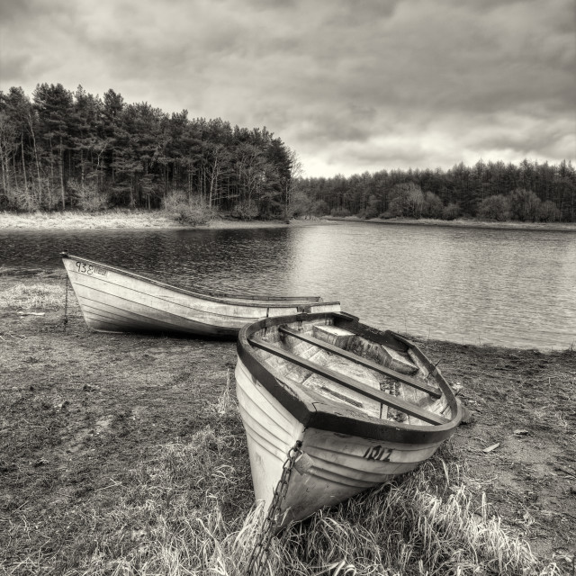 """""""Boats by a lake"""" stock image"""