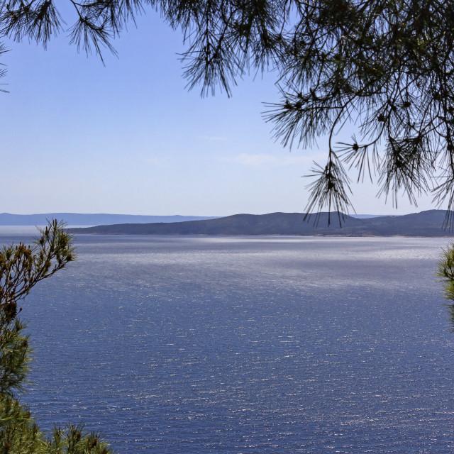 """View to the mountain and islands, Adriatic Sea, Croatia"" stock image"