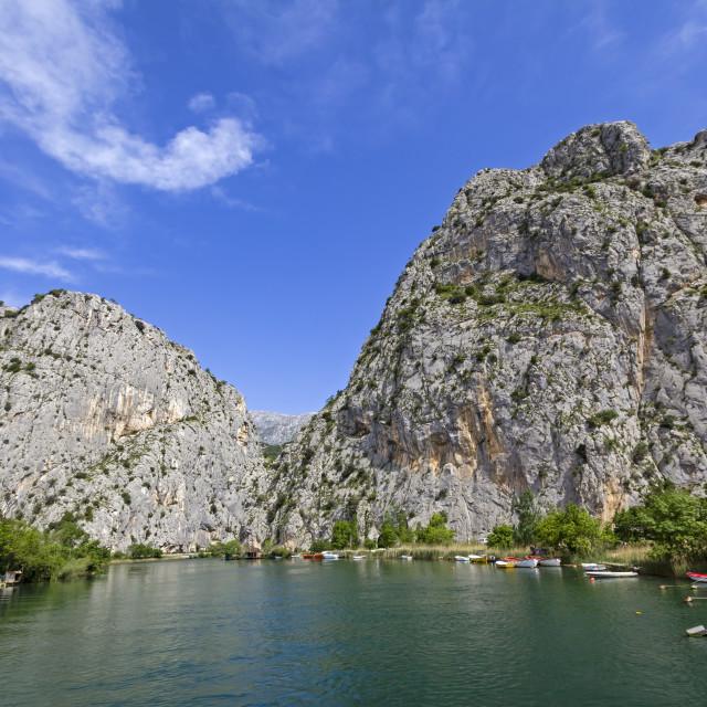 """View to the mountain and harbor Omis, Adriatic Sea, Croatia"" stock image"