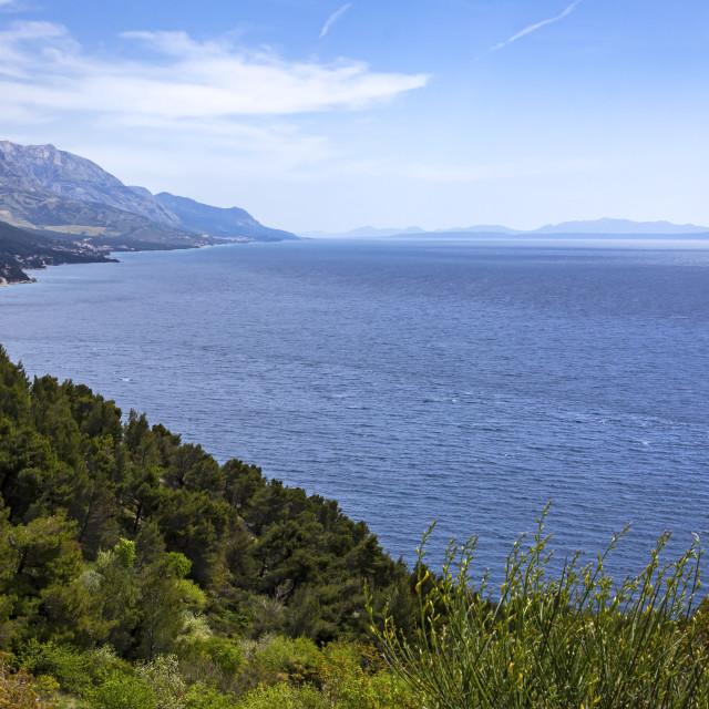 """View to the mountain and beach, Adriatic Sea, Croatia"" stock image"