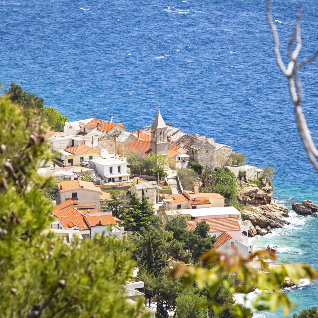 """""""Overlooking a small village on the Adriatic coast"""" stock image"""