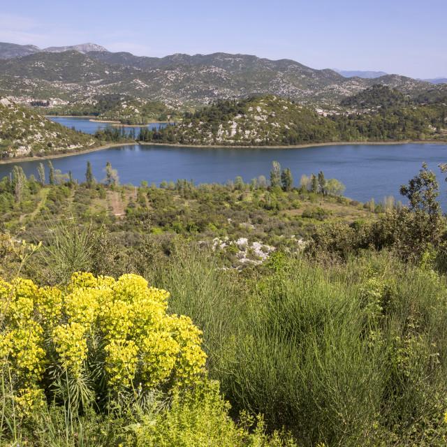 """""""Overlooking the lakes near Neretva Delta"""" stock image"""
