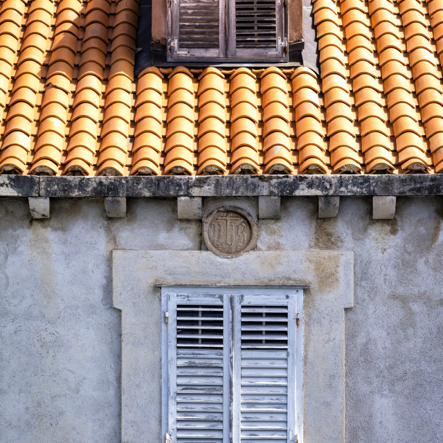 """""""Look at an old window and small dormer"""" stock image"""