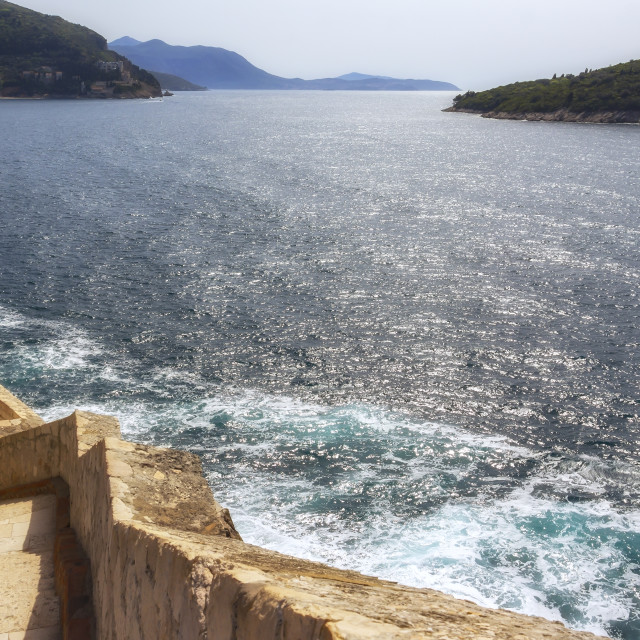 """""""View from fortress Dubrovnik on the Mediterranean sea"""" stock image"""