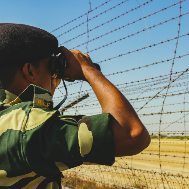 """Indian BSF Soldier at the Border"" stock image"