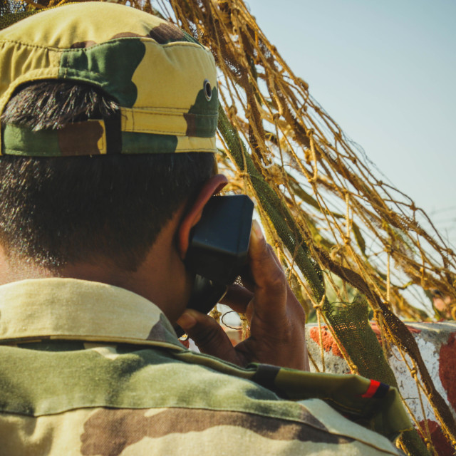 """BSF Soldier at the Indian Border"" stock image"