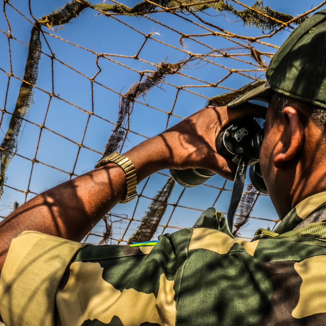 """Border Security Force Soldier at the Indian Border"" stock image"