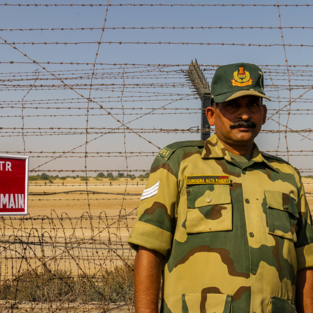 """Border Security Force Soldier at Indian Border"" stock image"