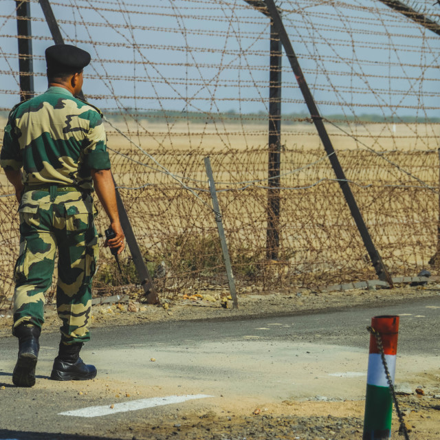 """BSF Soldier at India Pakistan Border"" stock image"