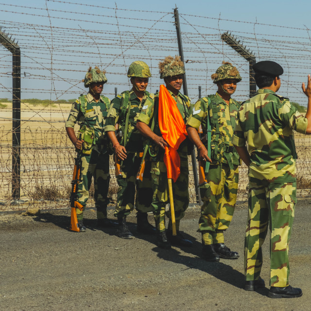 """BSF Soldiers at India Pakistan Border"" stock image"