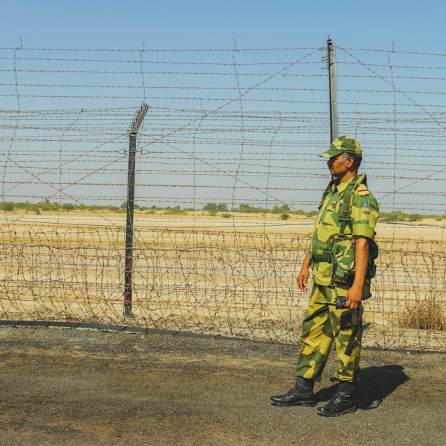 """BSF Soldier at Indian Border"" stock image"