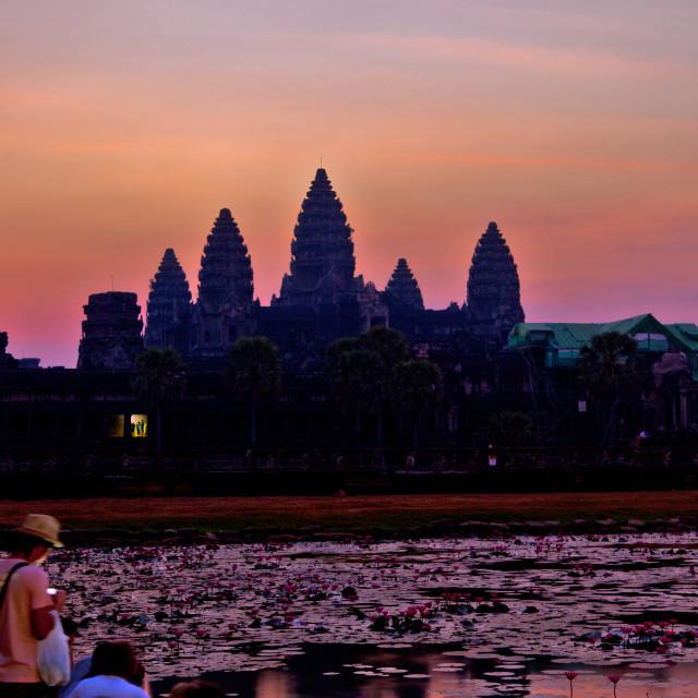 """""""Sunrise at Angkor"""" stock image"""