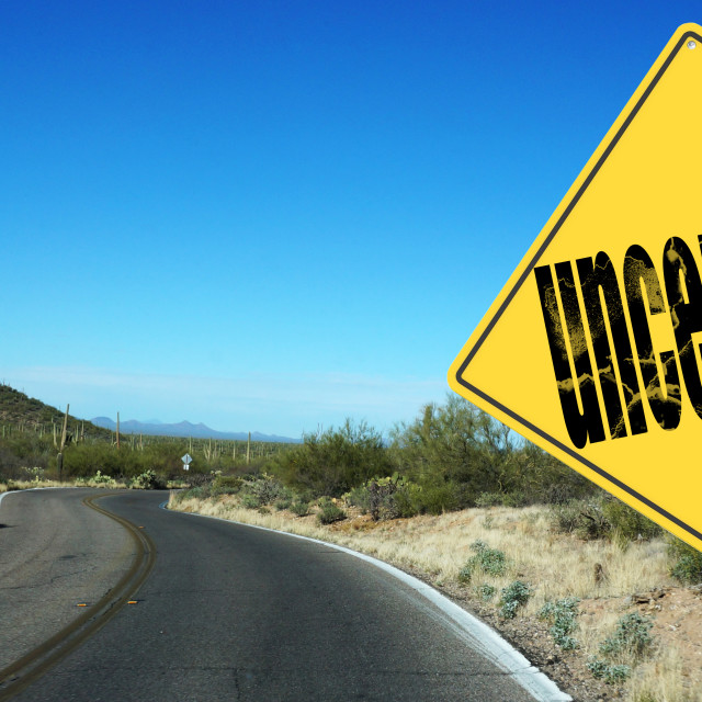 """""""Uncertainty ahead sign"""" stock image"""