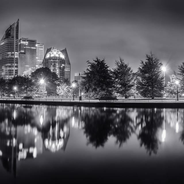 """The Hague skyline at night"" stock image"