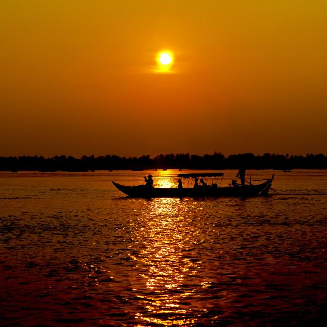 """""""Sunset over Mekong"""" stock image"""
