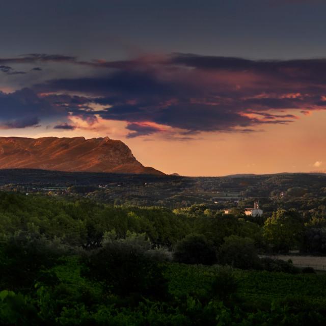 """Mont Ste. Victoire Sunrise"" stock image"