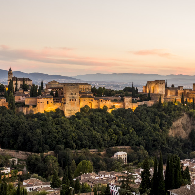 """The Alcazaba fortress of Alhambra, Alhambra de Granada, Andalusia, Spain"" stock image"