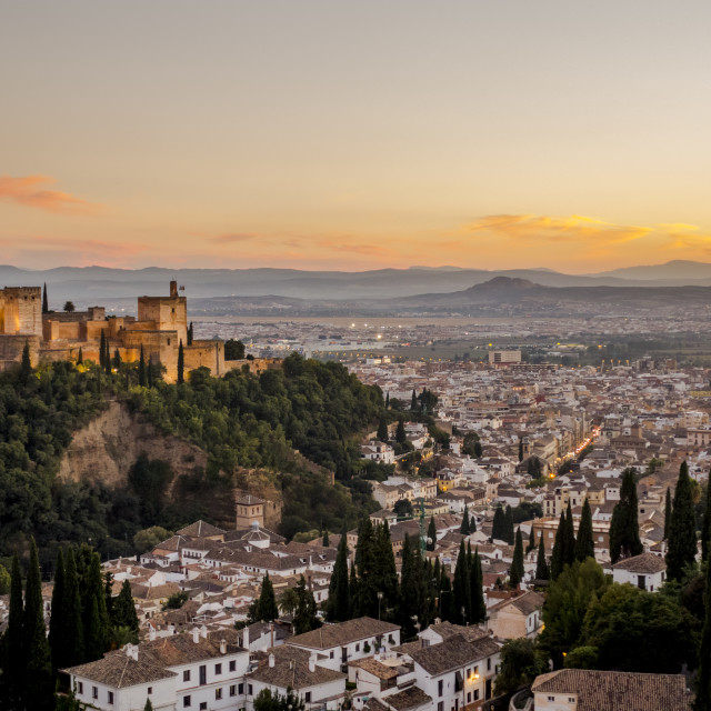 """The city of Granada with the Alcazaba fortress of Alhambra, Alhambra de Granada, Andalusia, Spain."" stock image"