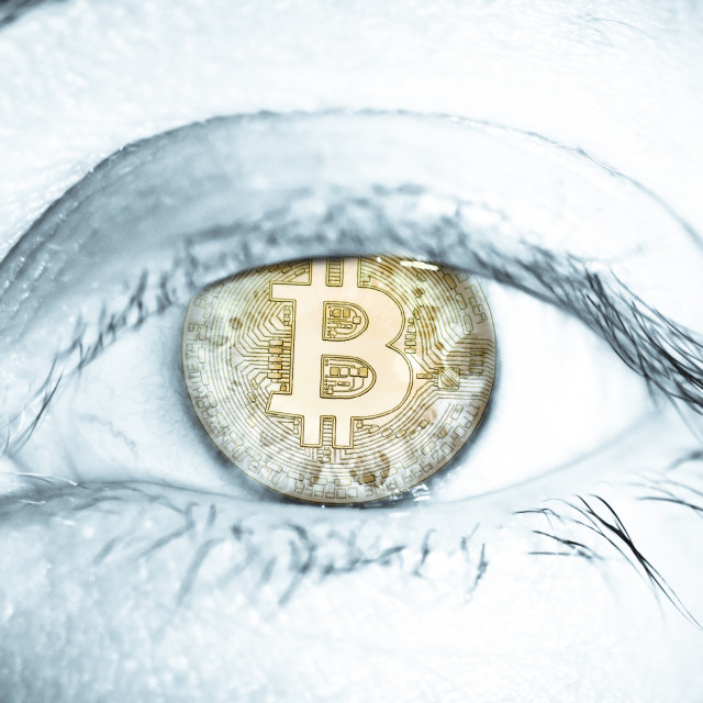 """Bitcoin coin cryptocurrency human eye retina. Concept for digital money blockchain technology electronic finance"" stock image"