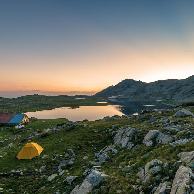 """""""Sunset landscape with Kamenitsa peak and Tevno lake."""" stock image"""